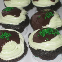 Chocolate Mint Cupcakes  Chocolate-mint mini-cupcakes with mint buttercreme, and chocolate ganache. All vegan since it's my favourite cookbook. For my friend&#...