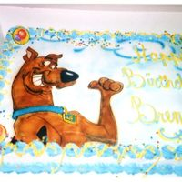 Birthday With Scooby-Doo This cake was done for a little boy who is a Scooby-Doo fanatic! I painted on Scooby and then airbrushed the background...