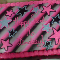Sweet 16 airbrushed black, grey and pink. the rest is buttercream same colors