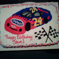 Jeff Gordon I made this cake for a friend it free handed the car, then star tipped it in. I messed up on the windows. The black came out to thick.