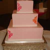 Pink Damask Cake   Pink Buttercream Damask Cake with Magnolia Topper