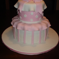 Isabella Cake Two Tiered pink fondant cake for Christening