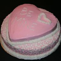 """be Mine"" Valentine Cake Strawberry cake with BC icing"