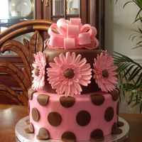 Gerbera Baby! A cake for a wonderful mom! I wanted to do something feminine, but still cool and hip with modern colors. Fondant covered cake, gumpaste...