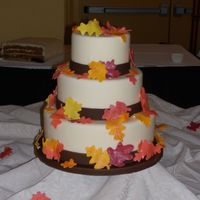 Autumn Wedding Simple autumn wedding cake. Covered in fondant with gumpaste leaves. TFL!