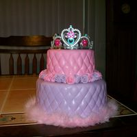 "Priness Cake Quick princess cake. Used the diamond embosser then ""stitched"" it with the quilting wheel. Roses were done ""Duff"" style..."