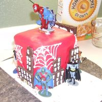 Superhero Cake  I wasn't able to do what I wanted, so this was kinda a last minute job. But my son LOVED it. He wanted all these superheros and bad...