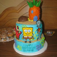 Bikini Bottom This is a cake i made for my little cousin for his 4th birthday! He loved it. I cut out Spongebob, Patrick, and Squidward using my the...