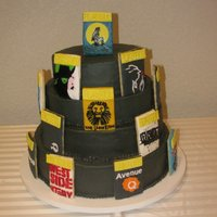 Broadway I made this cake for a friends banquet she had. i loved the way all the playbill turned out. and everything was cut out by hand.!