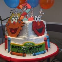 Ciearra's Sesame Street Cake Pic1 Color Flow Characters - Fondant Sesame Street Sign and Fondant Crayons