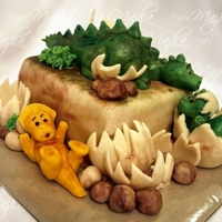 Dinosaur Cake  Cake for a small boy who is a big dinosaur fan. Cake base, the big dinosaur on top and the egg of dinosaur baby are sponge cake with...