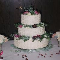 Basketweave Buttercream   Buttercream frosting with fresh flowers on a triple chocolate cake.