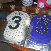 Rockies Cakes   Home and away Rockies jerseys for my son and his buddy for their third birthdays. Also, small Rockies hat cakes, too.