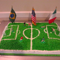 Soccer Field Soccer field for the groom`s cake. The bride is Brazilian and the groom Italian, they both live in America.