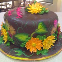 Crazy Daisies This cake is hand painted with Fondant accents. All chocolate.