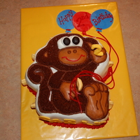 3D Monkey Cake Double high monkey pan, iced in buttercream icing with 3-D fondant accents,ie nose,eyesetc. I have more views of this picture.Thanks and...