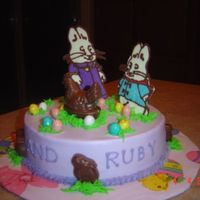 Max And Ruby And The Chocolate Chicken I did this cake for a raffle at my children's school for the special olympics kids. It is 1/2 chocolate, 1/2 vanilla, buttercream...