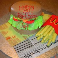 Cheeseburger & Fries Cheseburger -cake,fries-choc covered pretzels