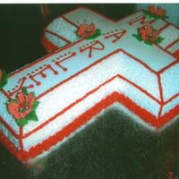 Cross Cake My oldest daughter's 1st communion cake . Buttercream icing,royal icing flowers and chantilly lace.