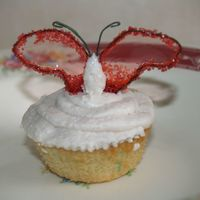 Butterfly Cupcake Vanilla cupacke with Cinnamon-honey buttercream frosting, adorned with gelatin butterfly wings.