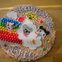 Ni-Hao Kai-Lan Rice Krispies Cake rkt cake, fondant characters, hand painted and an m+m rainbow!! it tasted great, and lots of fun for the kids!!!