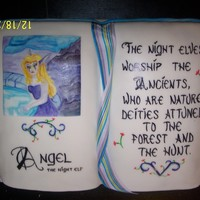The Deities For Angel book cake vanill and choc, handpainted night elf, world of warcraft definition hand painted, ribbon, shaped by hand