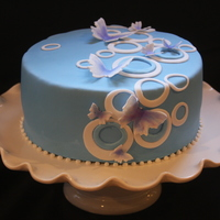 Butterfly Retro Blue Cake
