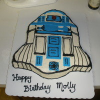 R2D2 Cake  This is my first attempt with fondant. Cake is sour cream chocolate with Indydebi's buttercream frosting. Blue fondant accents and a...
