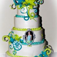 "Aqua And Greem :Quinceanera cake"" was made with wip icing as frosting and touch it with fondant details. The frame is made with fondant too."