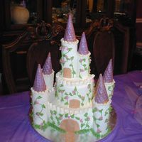 Castle Cake My take on Carol Deacon's cake for my daughter's sixth birthday. We will add small Disney Princesses to the cake before the party...
