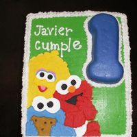 Baby Sesame Street B-Day Vanilla cake, cream cheese filling, faux fondant crusting BC with character RI plaque for a co-worker's son B-day. (Cake dimensions:...