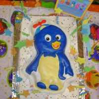 Backyardigan's Pablo Cake I used Wilton's Pablo pan. All covered in Faux Fondant crusting BC, creme bouquet cake. Stars, swirls, and music notes are satin ice,...