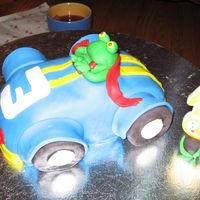 "Frog Driving Racecar For my son's third birthday. He loves frogs and cars. I don't think he is going to let us eat it. ""Mama, that frog is my..."