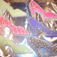 "Shoe Cookies I made these for a friend. We have a running joke about her boring choices in footwear, so I made her some ""purty"" shoes. ;)"