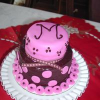 Chocolate And Pink This cake was one problem after another. Chocolate icing wouldn't smooth, fondant cracked, I couldn't get it level. It is for a...