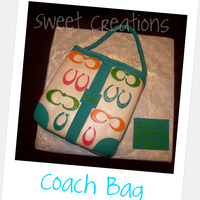 Turquoise Coach Purse   8in square French Vanilla. Covered and detailed in fondant