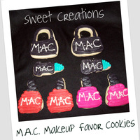 M.a.c. Makeup Cookie Favors NFSC M.A.C. Design for 30th Bday favors. Black Hand Bag, Teal Lipstick, Pink & Red Nail Polish. One of my favorite cookie designs