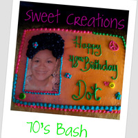 70S Bash 9x13 sheet cake french vanilla.Airburshed buttercream with edible image, peace symbol in buttrecream. Sugar faces