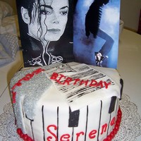 Micheal Jackson Cake This is MMF covered with glove made of fondant corse sugar on top and airbrushed silver. The out edge was made to look like piano keys and...