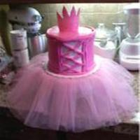 Princess Cale buttercream icing with fondant crown -- Actual tutu- gave to birthday girl