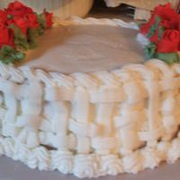 Basketweave With Fondant Red Roses This is another cake that I made for the elementary schools fall festival. I even got a comment from one of the people that was looking at...