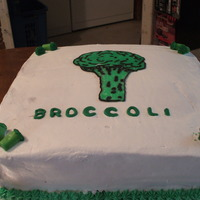 Broccoli Groom's Cake Groom's cake. The groom's name is Brock. The bride wanted it as a joke because they pick on him and call him broccoli.