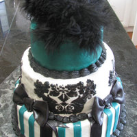 Damask, Green And Black Buttercream with stencil, and fondant accents. The feathers were my favorite :)