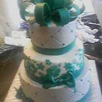 Teal And Silver Three Stack buttercream with fondant bow. First time using a stencil on the middle layer, need a little practice, any suggestions, it kept...
