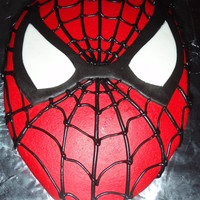 Spiderman Spiderman cake- red, white and black MMF, and black chocolate icing.