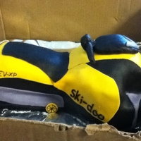 Skidoo/snowmobile Cake This was a hard cake to make. Carved the cake, and then covered it with buttercream and fondant. Used a toy skidoo to try to get the shape/...