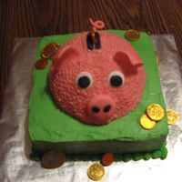 Piggy Bank Cake Pig cake for a meeting at work (a bank).
