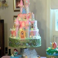 Princess Castle Cake Three tiered, buttercream icing with fondant impression mat to make the brick impressions. Hand made fondant flowers and butterflies....