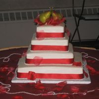 The Perfect Pear Wedding Cake Three tiers, butter cream icing. Marzipan pears for topper. Red satin ribbon on smooth icing.