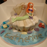Little Mermaid Cake Little Mermaid cake sponge cake made in brioche tin to give shell shape, marbled fondant icing to cover, with sugarpaste Ariel, Flounder...